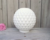 MILK GLASS Lamp Shade Victorian Quilted Diamond Gone with the Wind - Oil Kerosene Gas - Replacement Globe Light Lampshade Round Ball Puffed
