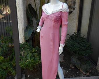 Vintage Pink Off The Shoulder Evening Dress - Size 8