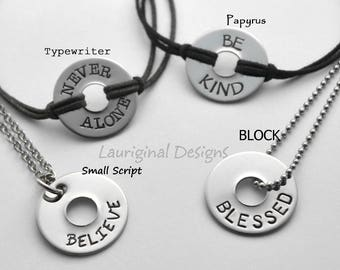 Word washer necklace or bracelet - Any word or words that fit - See ALL photos!!
