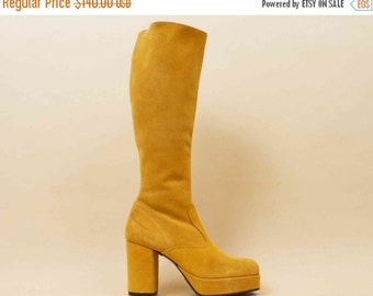 20% OFF 1DAY SALE 70s Vtg Mustard Yellow Italian Genuine Suede Leather Knee High Platform Chunky Heel Boots / Glam GoGo Boho Hippie Deadstoc