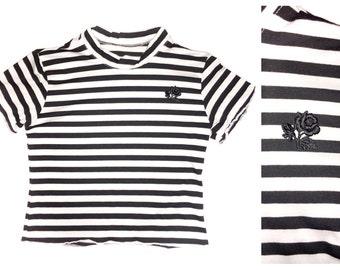 Black Rose Jailbait Stripe Crop Top Made to Order Deadstock Fabric