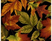 15% off thru 2/22 WELCOME HARVEST multicolor leaves on black green rust Fall Autumn Henry Glass cotton fabric by the 1/2 yard