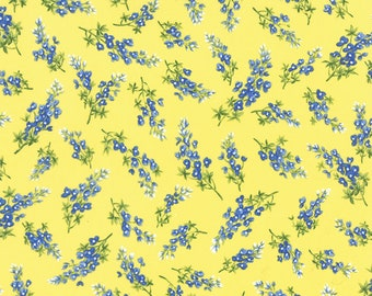 Texas Wildflowers VII Moda fabric by the half yard quilt weight cotton  32973-14 Bluebonnets on sunshine yellow