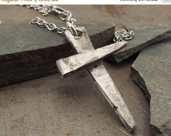 SPRING SALE 25% OFF Rustic Hammered Cross White Bronze Necklace For Men or Women