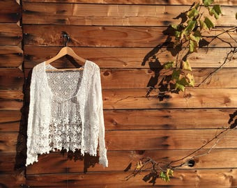 Love Adorned Crochet lace coverup, Boho style cardigan, One size fits all, S M L, ivory,