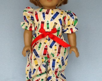 18 inch doll rompers and headband. Fits American Girl dolls. Crayons print.