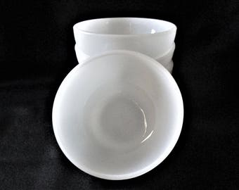 Set of 4 Vintage White Smooth Side Fire King Cereal Bowls 5 inch
