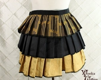 """10% OFF Ruffle Bustle Overskirt - 3 Layer, Sz. S - Black & Gold with Dragonflies - Best Fits up to 42"""" Waist/Upper Hip -- Ready to Ship"""