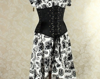 "HALF OFF SALE Cap Sleeved Ragamuffin Dress in Black/White Star Wars Print -- Size M, Fits Bust 36""-40"" -- Ready to Ship"