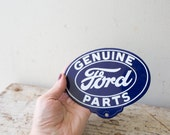 Vintage Ford Metal Sign Vintage Car Badge Ford Oval Blue Wall Hanging Genuine Ford Parts