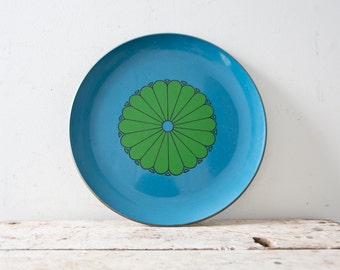 Vintage Tray Vintage Mid Century Platter Vintage MidCentury Tray Green and Blue Boho Decor Bohemian Tray Flower Tray