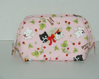 """Wire Frame Zipper Pouch With Pocket / Padded Cosmetic Bag Made with Japanese Cotton Oxford Fabric """"Tama and Friends - Pink"""""""