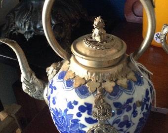 Vintage Tibetan silver teapot.