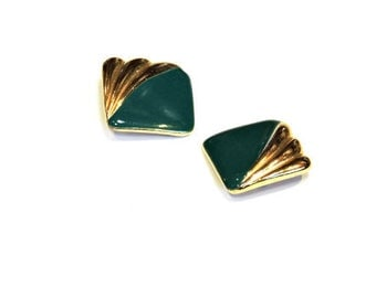 Square Clip On Earrings, Vintage Gold Tone Green Enamel Metal Ear Clips, Two-Tone Clip Ons, Costume Jewelry,Fashion Accessory itsyourcountry