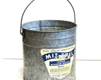 Better Bilt Mit-Shel Minnow Bucket, Galvanized Metal Fishing Bait Pail, Red Wood Handle, Paper Advertisement Label,Quincy ILL itsyourcountry