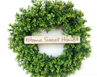 Boxwood Wreath-Farmhouse Wreath-All Season Wreath-Farmhouse Decor-Door Wreath-Summer Wreath-Outdoor Wreath-Home Decor-Housewarming Gift