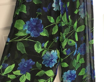 Sheer Mesh Floral Swim Cover Up Pants Black Blue Butterflies  Ladybug Flowers Large