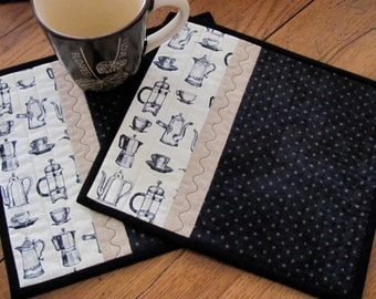 Quilted Mug Rugs French Press Coffee Theme Coffee Pot Fabric Black and Cream Accent Fabric French Country Cottage Chic - Set of Two Mug Mats