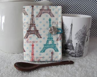 Quilted Tea Wallet Paris Eiffel Tower Theme Fabric in Turquoise, Brown/Red with Matching Accent Fabric Pretty Silver Button Elastic Loop