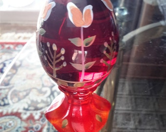 Fenton Glass Egg Hand Decorated Tulip Design Artist Signed Limited Ed B. Williams