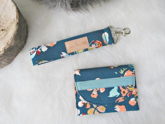 Card Wallet and Key Fob Gift Set. Teal Floral Gift Card Holder and Keychain Wrist Strap. Mini Wallet. Gifts Under 20. Gift for Her.