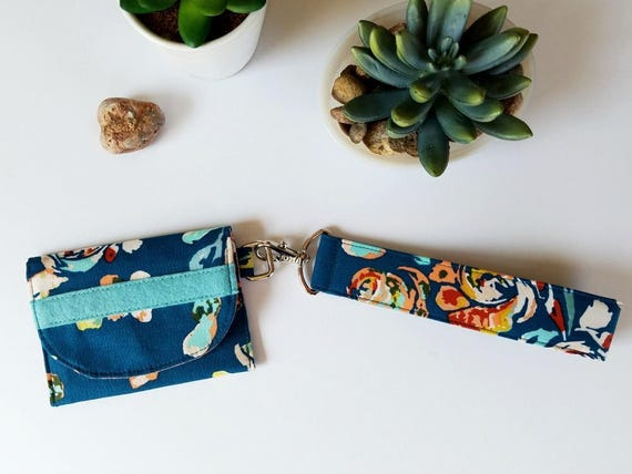 Mini Wallet with Wrist Strap | Teal Floral Mini Wristlet