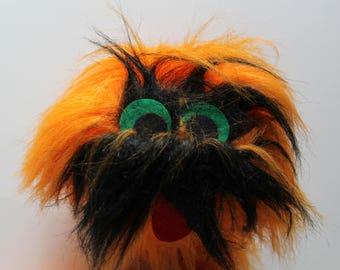 Vintage Great American Fun Orange Monster Marionette Puppet Stuffed Animal 1990