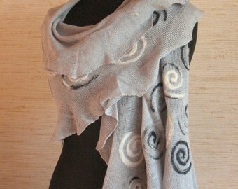 Linen Scarf Gray White Spiral Snail Felted Wool