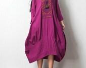 Spring cotton and linen fashion long dress purple maxi dress