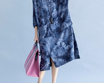 Women romantic Loose fitting Long dress fashion Women maxi dress in brown dress Dark blue dress
