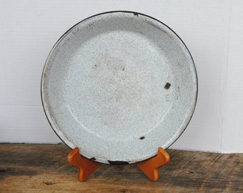 Vintage Pie Plate Speckled Enamel Kitchen Home Decor