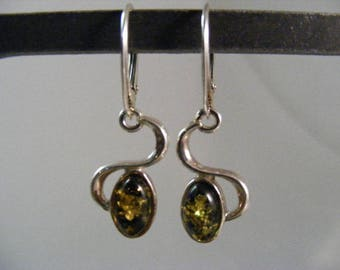 Vintage Glowing Green Baltic Amber Pierced Dangle Earrings in Sterling..... Lot 5221
