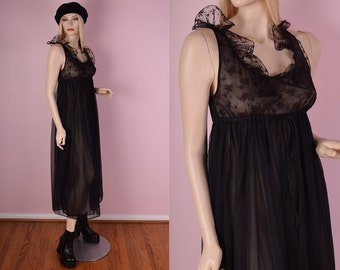 70s Black Sheer Ruffled NightGown/ Small/ 1970s/ Dress/ Lace