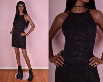 90s Black Floral Print Dress/ US 9/ 1990s/ Sleeveless