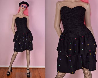 80s Polka Dot Party Dress/ US 8/ 1980s/ Strapless
