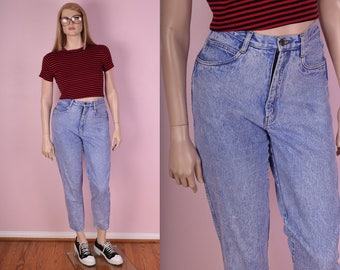 90s High Waisted Blue Stone Wash Mom Jeans/ US 10/ 1990s