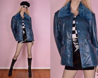 90s Blue Reptile Print Vinyl Coat/ Small/ 1990s/ Jacket/ Faux Fur