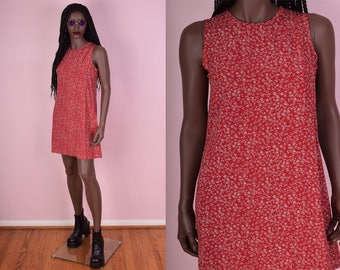 90s Red Floral Print Dress/ Small/ 1990s/ Tank/ Sleeveless