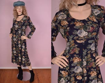 90s Floral Print Flowy Dress/ US 6/ 1990s/ Long Sleeve