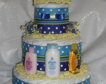 Blue and Yellow Diapercake with Rubber Duck