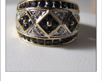 Estate Wide Band 14k Diamond Sapphire Ring with Geometric Design