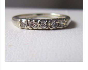 RESERVED for Michelle R --Vintage 14k 5 Diamond Wedding Band