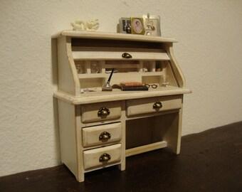 dollhouse miniature  desk decorated White shabby chic