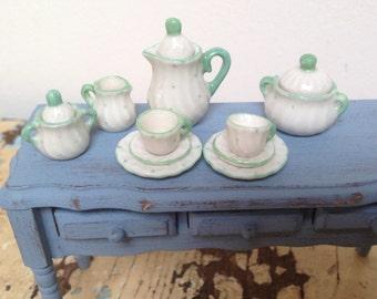 Reserved for bramma, Vintage dollhouse miniature tea set, porcelain