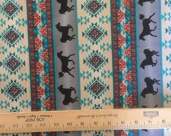 One yard fabric horses equestrian ikat western cotton