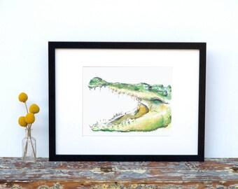 Alligator Nursery Art - crocodile nursery art - Watercolor Painting - Alligator Print - Boy room art - Crocodile Art Print - boy nursery art