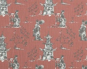 Two 26 x 26 Custom Euro Pillow Covers -  Toile Chinoiserie -  Scarlet Red