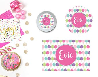 Cotton Candy Plate/Bowl/Placemat (Color Options). Personalized Plate/Bowl/Placemat . Carnival Plate/Bowl/Placemat .  Candy Plate/Placemat