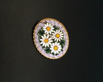 Daisy Micro Mosaic Brooch Vintage Italian oval hippie boho pin treasure flower power jewelry bargain