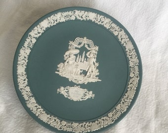 Wedgwood teal jasperware plate Valentines Day 1984 anniversary LE courting couple wedding engagement My Valentine 1984